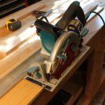 Track saw work with guide rail