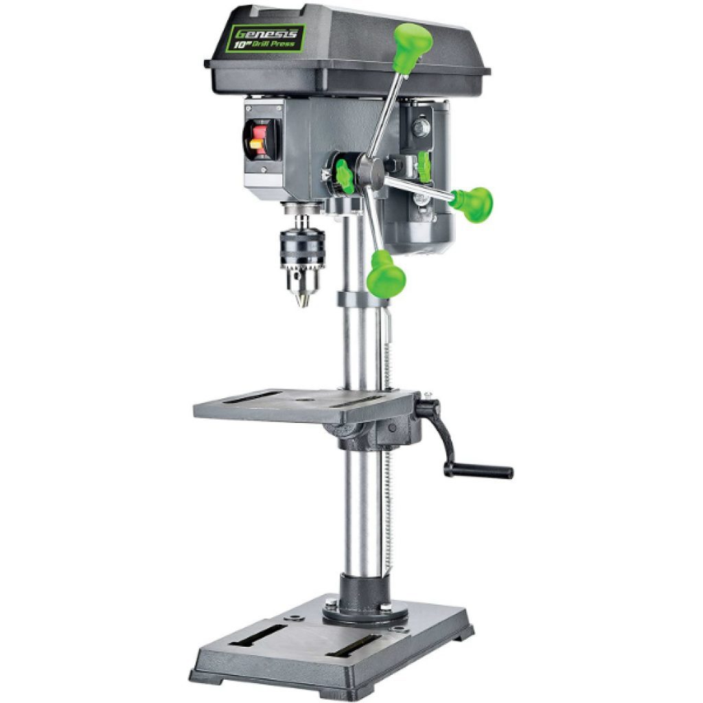 Genesis-GDP1005A-10-5-Speed-4.1-Amp-Drill-Press-with-5-8-Chuck-Integrated-LED-Work-Light-and-Table-that-Rotates-360-and-Tilts-0-45