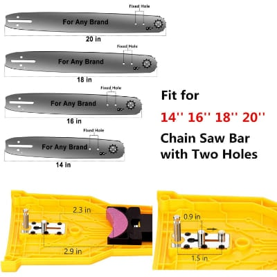 Chainsaw Teeth Sharpener Fit for 14 16 18 20 Inches Two Holes Chain Saw Bar with total 4 Whetston