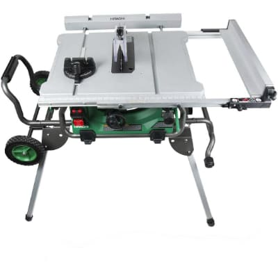 Hitachi C10RJ 10 15-Amp Jobsite Table Saw with 35 Rip Capacity and Fold and Roll Stand