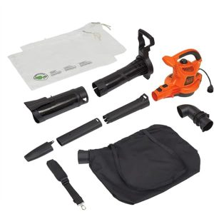 BLACK+DECKER 3-in-1 Electric Leaf Blower & Mulcher with Leaf Vacuum Kit