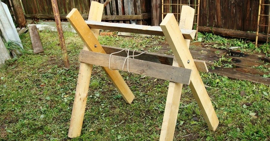 sawhorses in the courtyard