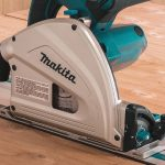 makita track saw on a wood