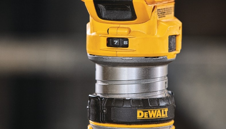 dewalt wood router close view