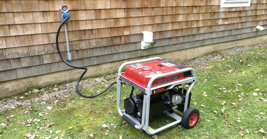 The generator is connected to the house